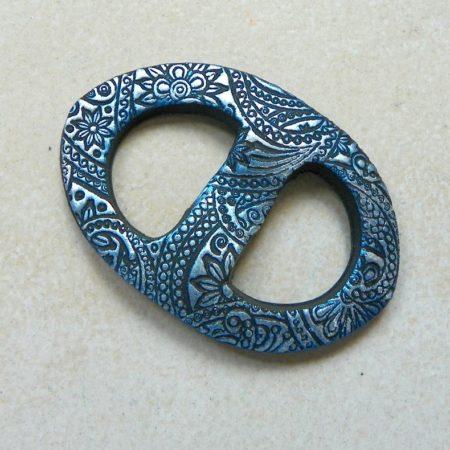 Oválná sponka na šátek, ornament modrá