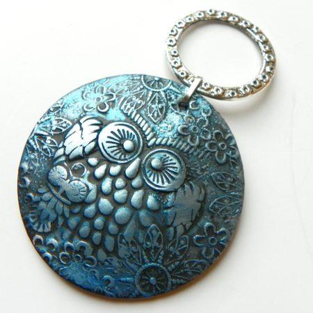 Přívěs na nákrčník sova modrá