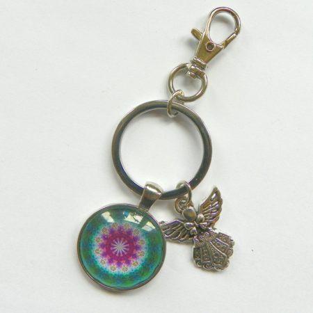 Přívěsek na klíče - mandala s andílkem