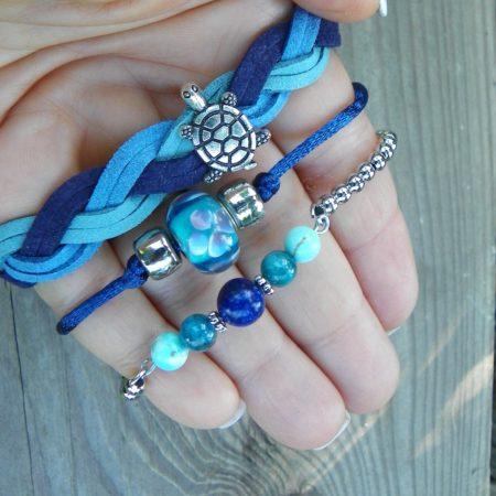 Náramkový set - modrá se želvou