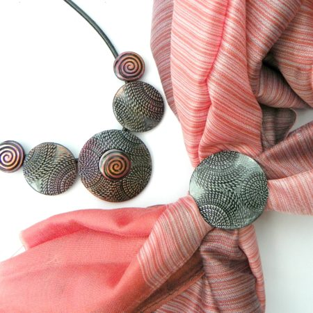 Elegantní šálový set - růžová se spirálou