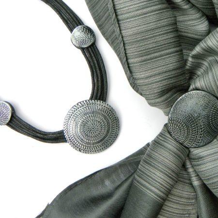 Elegantní šálový set - šedostříbrná