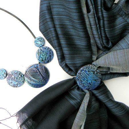 Elegantní šálový set - tmavě modrá s listem