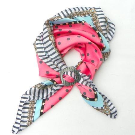 Šátek se sponou - růžový s puntíky