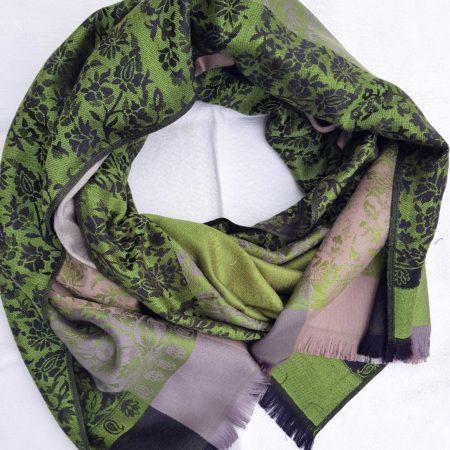 Kašmírová šála elegance v zelené