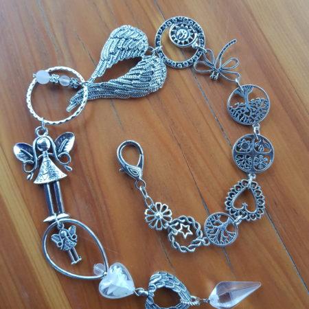 Závěs - andělská křídla s křišťálem