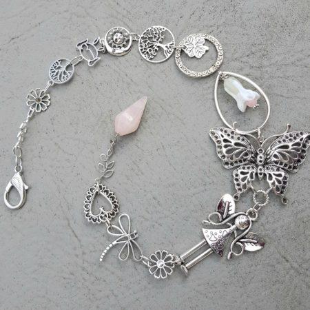 Závěs - andělka, motýl, růženín
